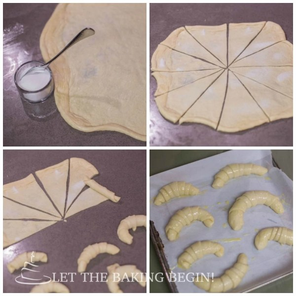 How to roll out dough and cut into triangles, roll up, and top with egg mixture.