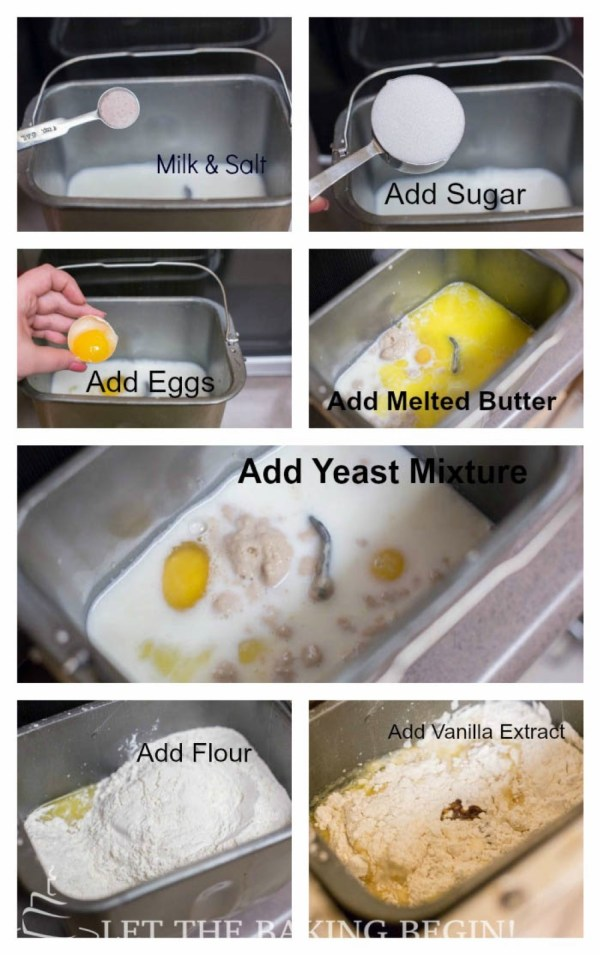 How to add milk, salt, sugar, eggs, melted butter, yeast mixture, flour and vanilla extract.