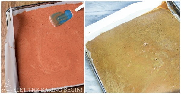 How to spread pate on a parchment paper lined baking sheet with spatula.