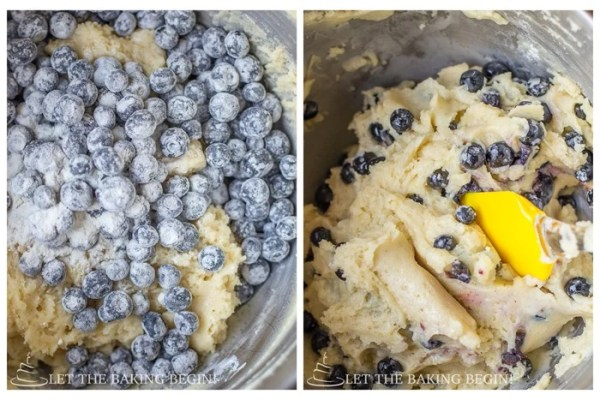 How to add blueberries to batter mixture and fold together.