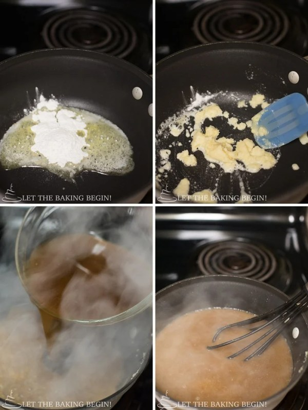 How to melt butter and add flour in a saucepan and then add meat juice.