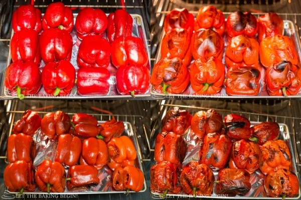 How to roast the red peppers for this spicy roasted pepper spread.