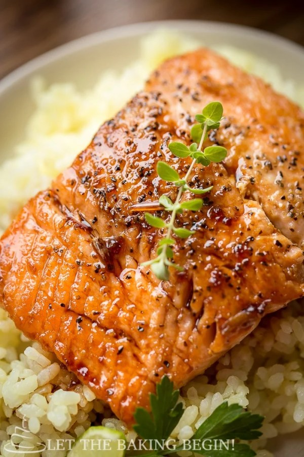 Close of picture of pan seared salmon recipe topped with a ginger and garlic salmon glaze.