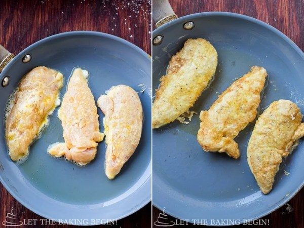 How to fry the prepared chicken on a skillet, cooking the chicken on each side.