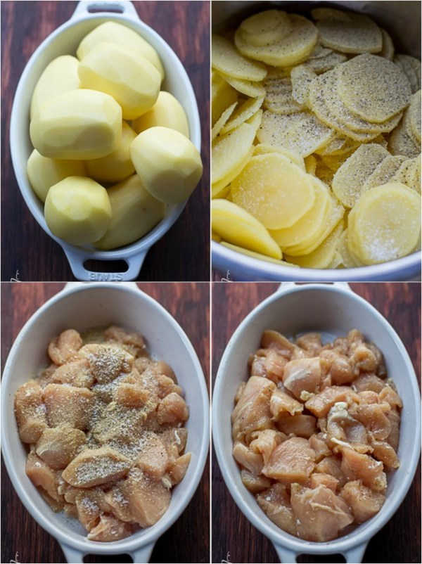 Step by step pictures on how to slice the potatoes, and prepare the chicken for this chicken mushroom casserole.