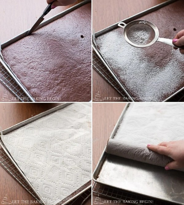 How to sprinkle powdered sugar and roll up with towel paper on top of the cake.