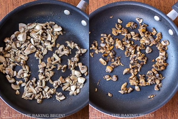 How to saute mushrooms in a skillet.