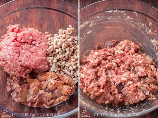 How to mix ground pork, bacon, and chopped liver in a bowl.