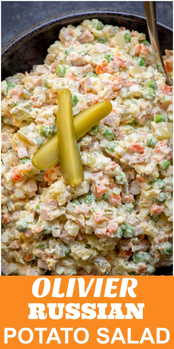 Olivier Russian Potato Salad - You should try this fancied up potato salad and see why our family has been making it for years! The ingredients include smoked sausage, potatoes, pickles, peas and carrots. Then, the salad is dressed with mayo, for the authentic Slavic flavor.