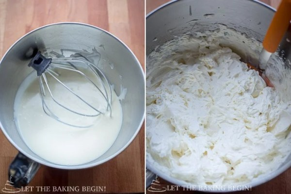 How to whisk white chocolate mixture until increased in volume and stiff.