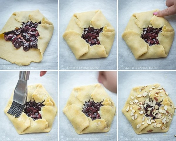 How to make a large more rustic looking galette by folding dough and brushing egg wash on it and topping them with sliced almonds.