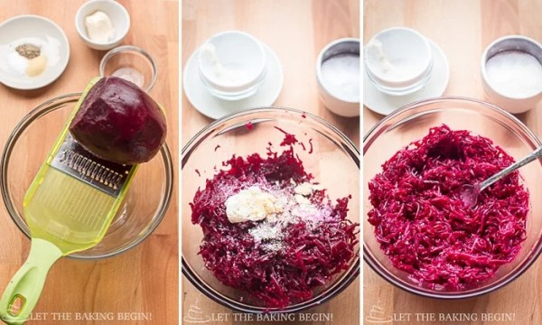 How to grate beets, add salt, garlic, vinegar, and mayo and stir.