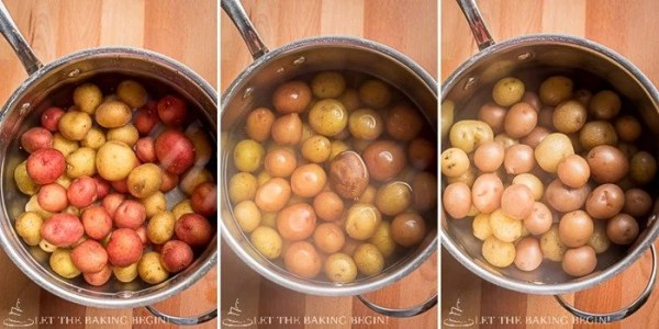 Step by step pictures on how to prepare the little potatoes right before pan searing!