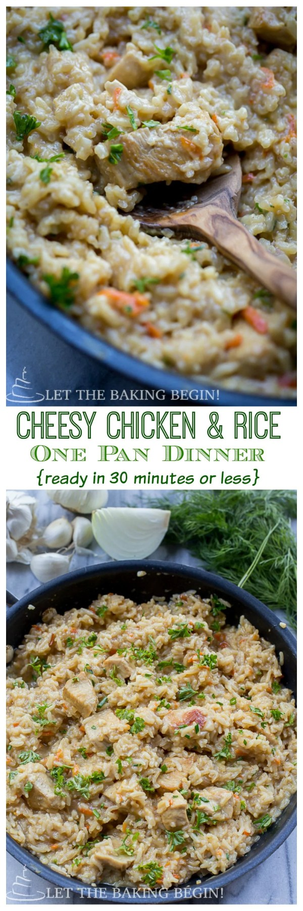 Cheesy Chicken & Rice One Pot Dinner {in 30 Minutes or less)