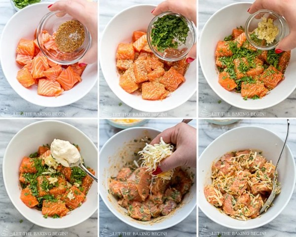 Step by step pictures of putting this Cheesy Parmesan Crusted Salmon Bake dish together.