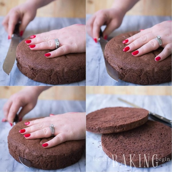 Step by step photos of how to split the cake into two even horizontal layers.