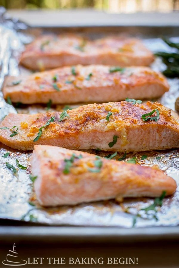 Seasoned and baked salmon recipe with oven roasted potatoes and asparagus!