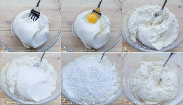 How to mix together egg, ricotta cheese, vanilla, sugar, flour, and baking powder together into a soft and tender pancake batter.