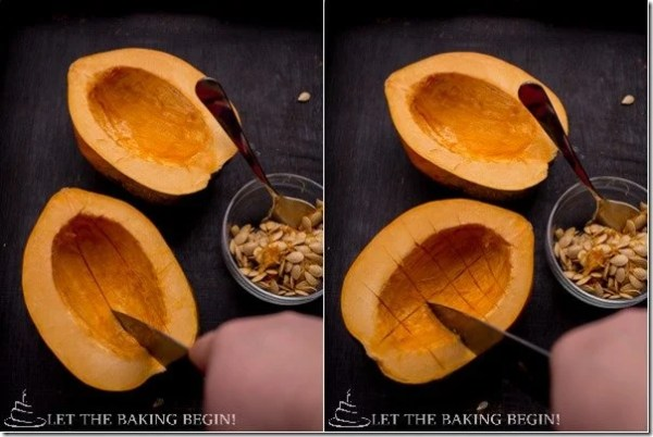How to prepare the acorn squash.