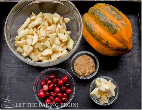 All the ingredients needed for this easy acorn squash recipe.