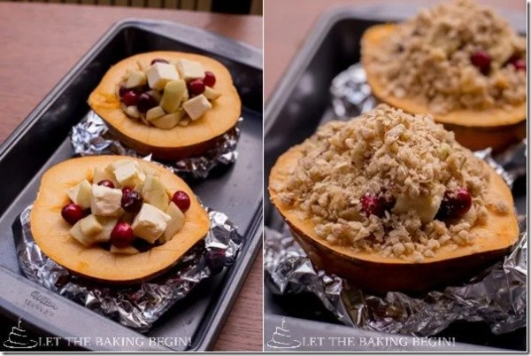 How to make a classic acorn squash dessert topping with a walnut-oat crumble.