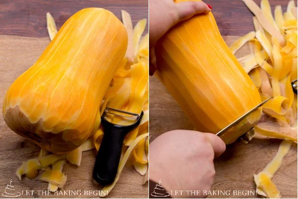 How to peel the butternut squash with a vegetable peeler.