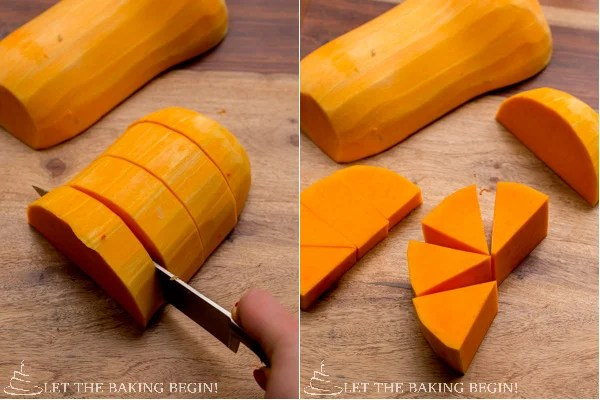 Butternut squash being cut into solid square with a knife.