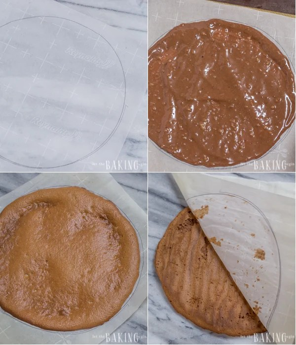 Lining the chocolate cake batter on parchment paper for baking.