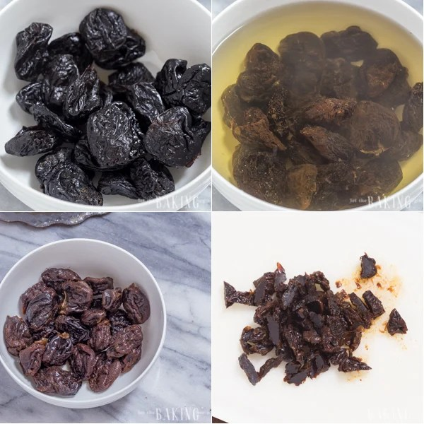 Soaking the prunes to make the dried plums for this chocolate cake.