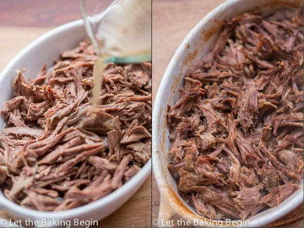 Beef shreds in a casserole dish with the reserved liquid.
