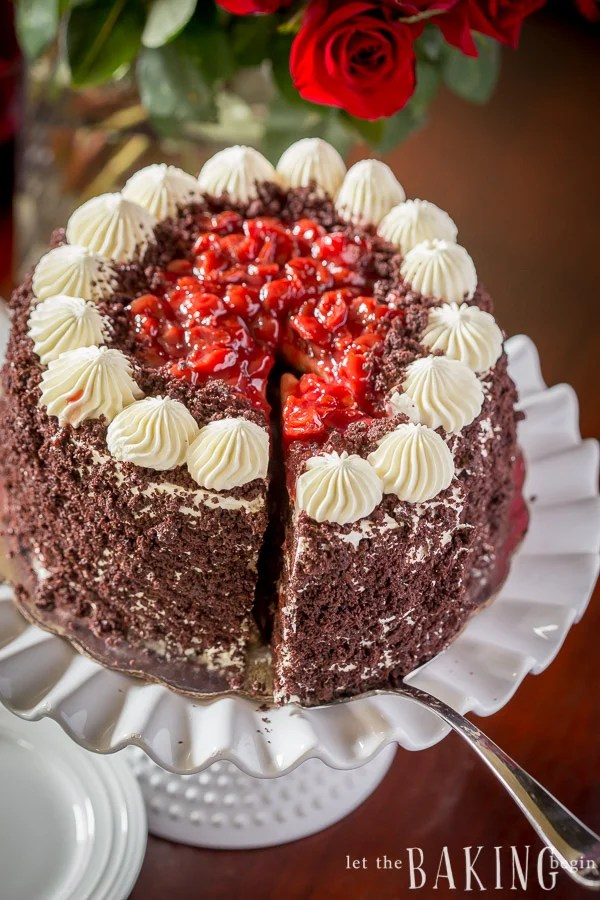 Black Forest Cake is a classic combination of moist chocolate buttermilk cake layers sandwiched with sweetened whipping cream (Chantilly Cream) and sour cherry cake filling.