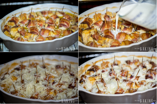 Cheesy Bacon Wrapped Chicken is a recipe of pieces of chicken breast are wrapped in smoked bacon, then baked until soft and tender. Later cream and mozzarella are added for extra richness and creaminess.