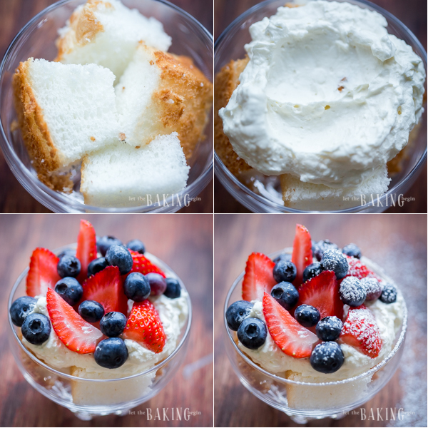 How to divide angel food cake, add cheesecake mixture and sprinkle berries into a glass cup, followed by topping it off with powdered sugar.