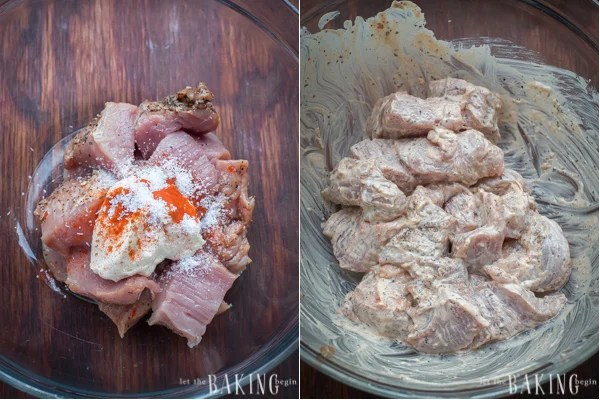 How to add cut up tenderloins, mayonnaise, paprika, and kosher salt in a bowl and mix.