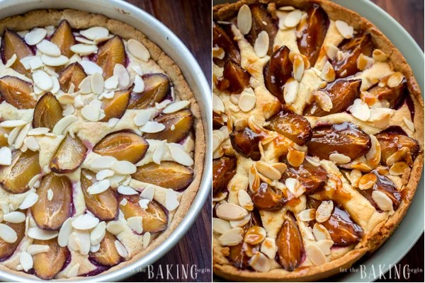 How to place plum quarters on top of almond filling and press in, topping with almond slices.