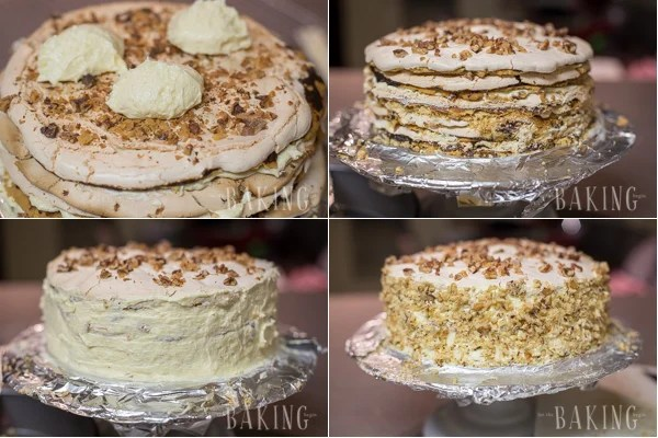 Holiday Cake - Shortbread Cake layers lined topped with plum butter, walnuts, meringue, and Custard Buttercream | by Let the Baking Begin!