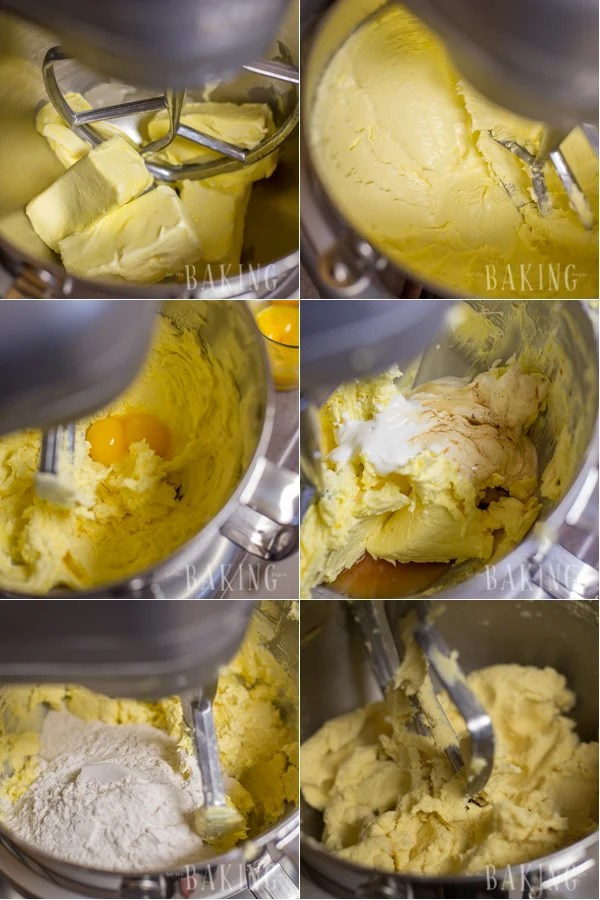 Mixing the ingredients to make the shortbread layer of this marquise cake.
