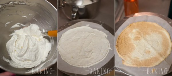 How to lay out the batter onto the parchment paper with the almond flour.