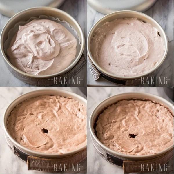 Adding the chocolate sponge cake to baking sheet and baking.