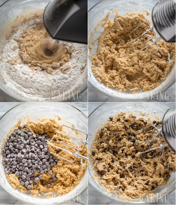 Combing the dry ingredients with the wet cookie dough batter mixture.