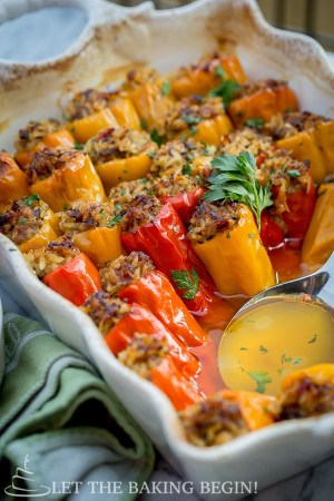 Baby Peppers stuffed with Sausage and Rice, dinner has never been more delicious! | by Let the Baking Begin!