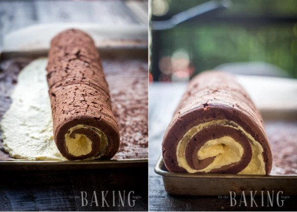 Rolling up the chocolate custard roll into a roulade.