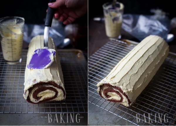 Covering the outside of the roulade with custard buttercream.