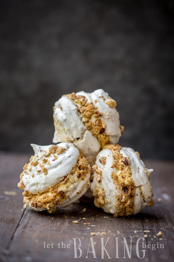 Hazelnut Meringue Bombs stacked on top of each other.