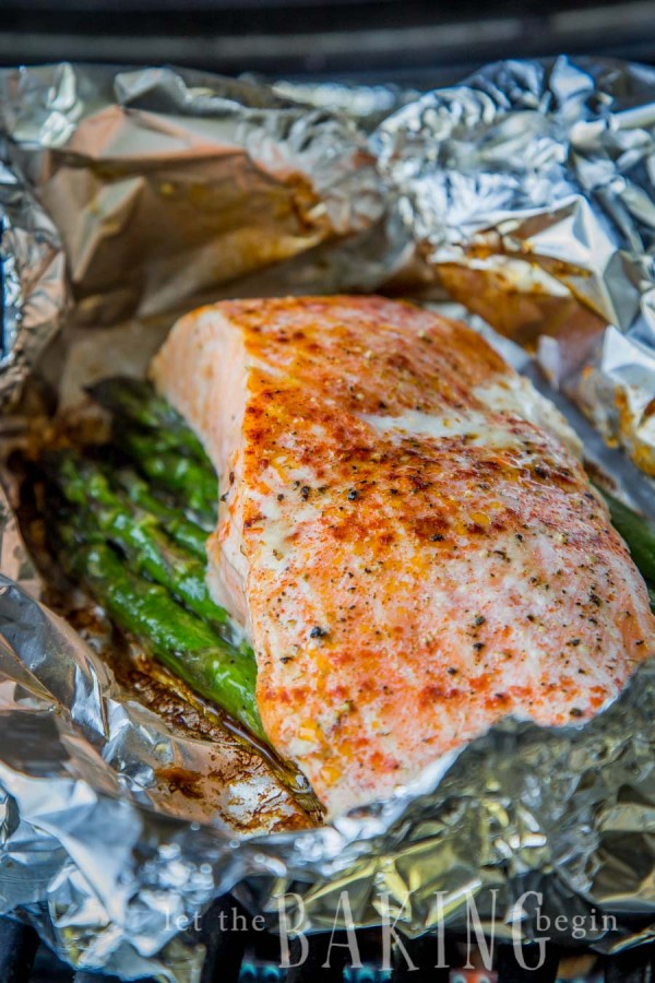 Salmon and asparagus in a foil packet.