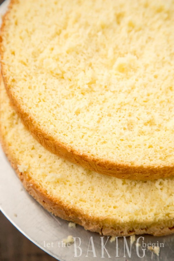 Two layers of the classic yellow sponge cake recipe.