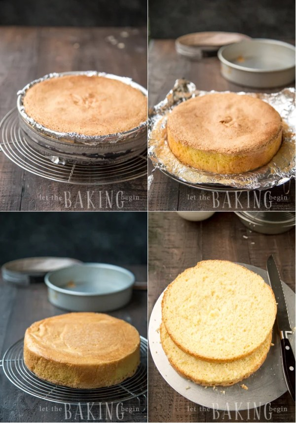 Baked yellow sponge cake one a cooling rack, and how to slice the sponge cake in half.