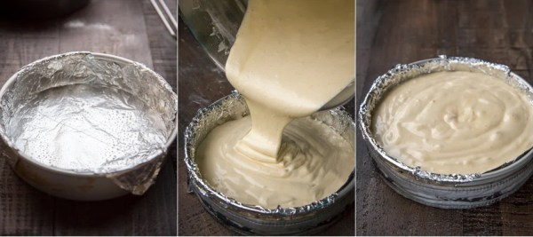 How to line the baking sheet with foil and pouring in the sponge cake batter for baking.
