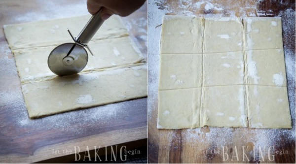 How to cut puff pastry with a pizza cutter on a floured surface.