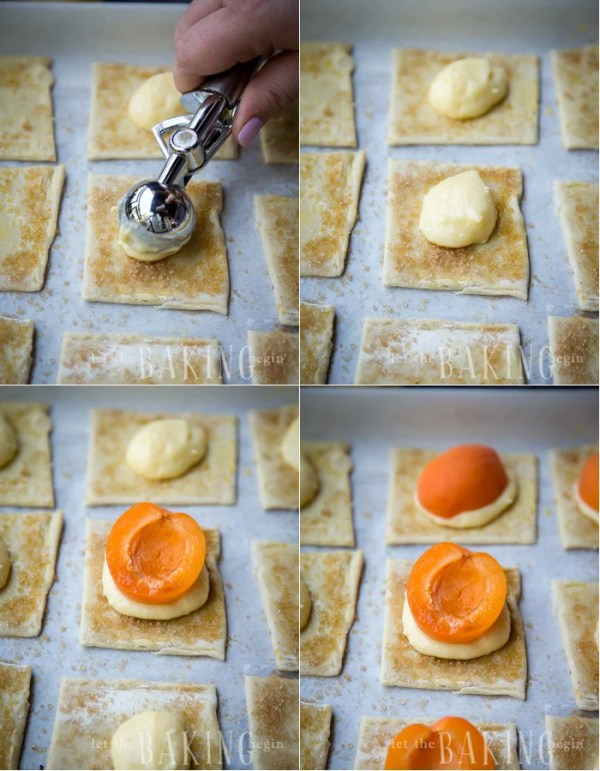 How to scoop out cream cheese mixture and place in the middle of each square top and then top with half of an apricot.